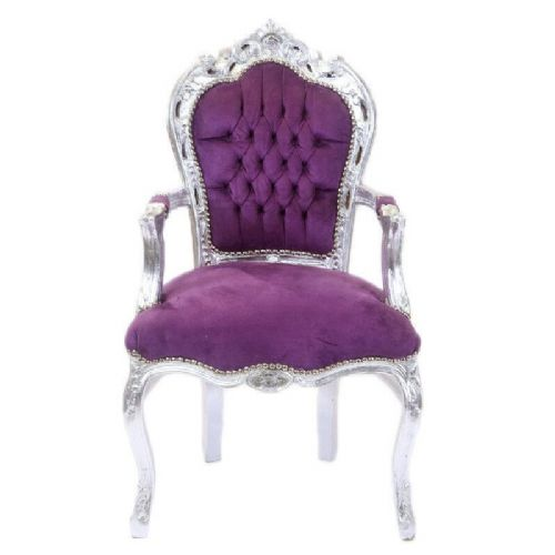 CHAIRS FRANCE BAROQUE STYLE DINING ROYAL CHAIR WITH ARMRESTS SILVER/PURPLE#70F31